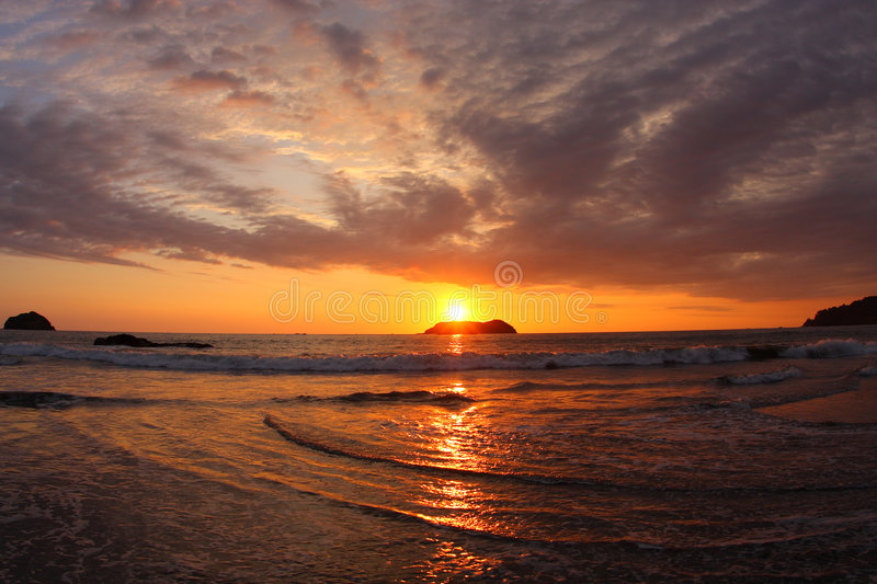 Sunset in Manuel Antonio (Costa Rica) stock photography