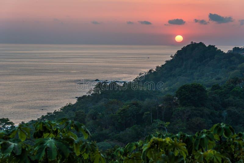 Sunset at Manuel Antonio, Costa Rica - tropical pacific coast stock photo