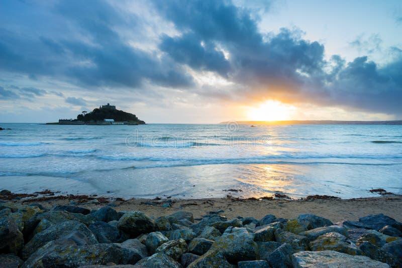 Sunset Marazio Cornwall England UK fotografia stock libera da diritti