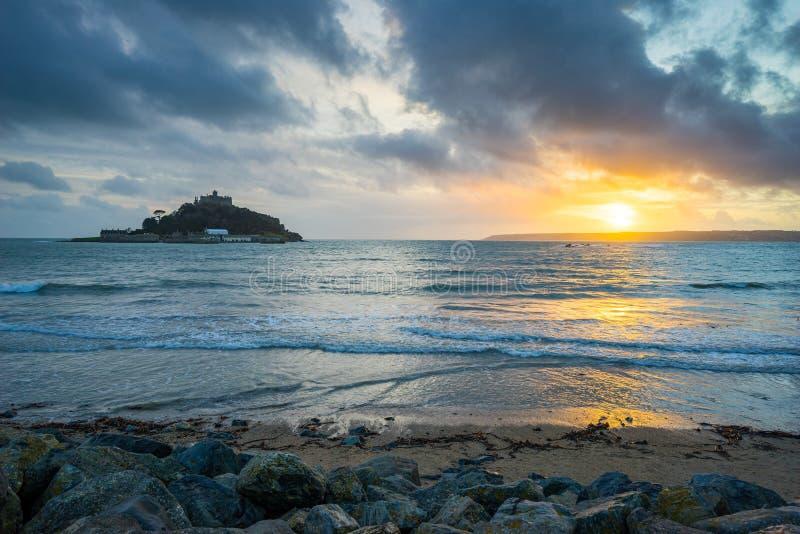 Sunset Marazio Cornwall England UK fotografie stock