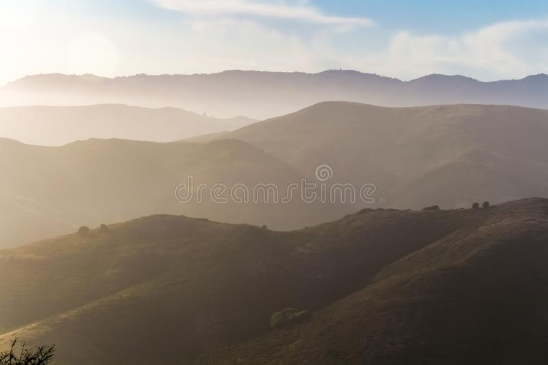 Marin Headlands on a foggy afternoon. Sunset at Marin Headlands, Golden Gate National Recreation Area, California, USA royalty free stock photo