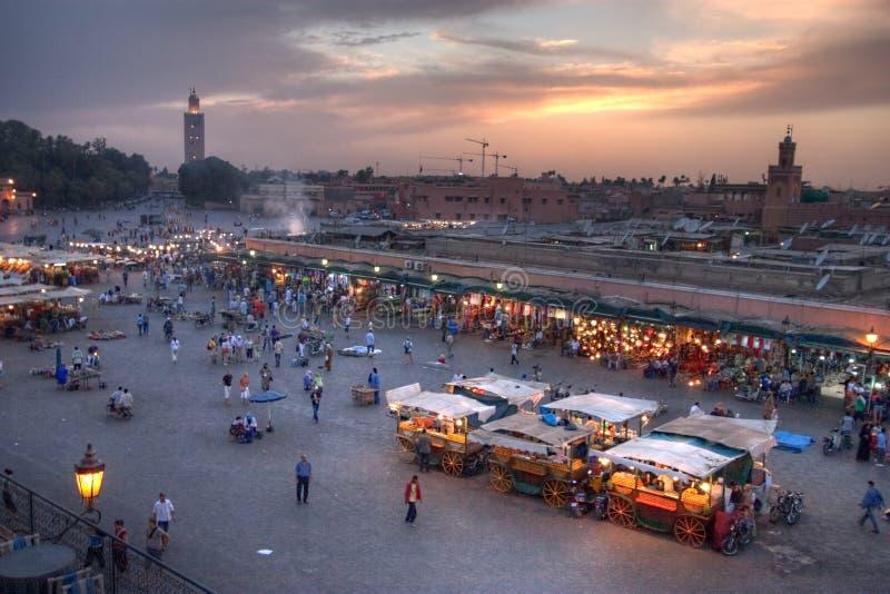 Sunset on marrakesh royalty free stock photo