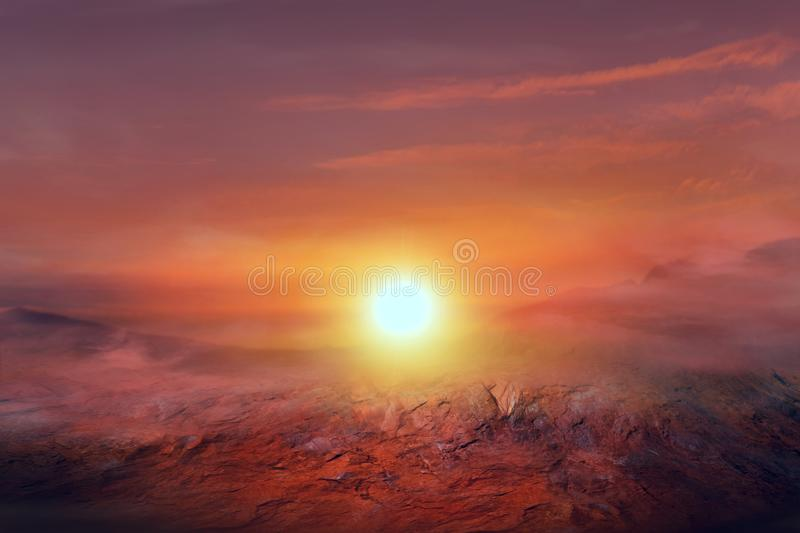 Sunset on Mars . red others planet . Fantastic martian landscape    . sunset on Mars . red others planet stock photos