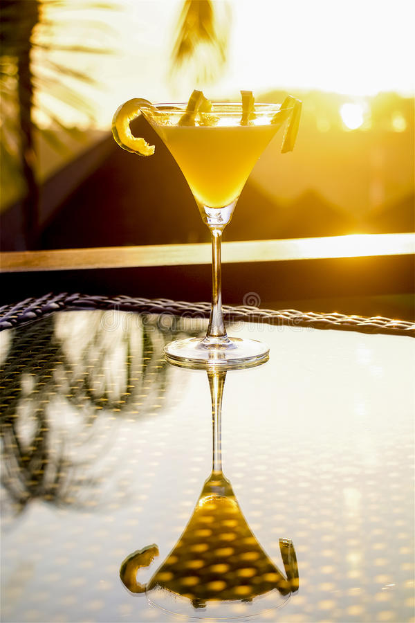 Sunset martini cocktail royalty free stock photography