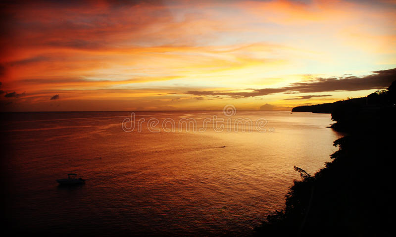 Sunset, Martinique. Beautiful sunset in Martinique island royalty free stock photo
