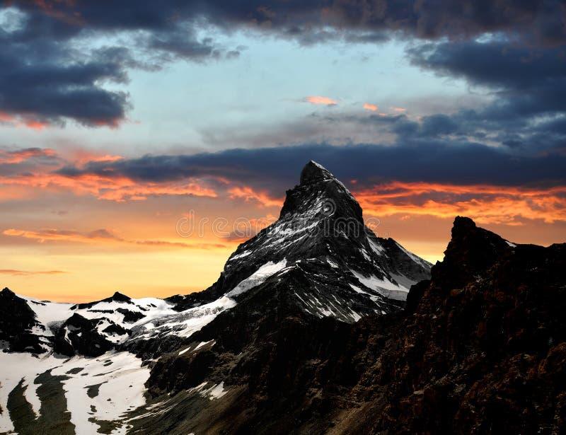 Download Sunset on the Matterhorn stock image. Image of matterhorn - 28533143