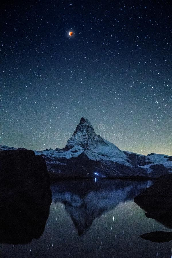Eternal matterhorn. Sunset at Matterhorn with reflection in Stellilake in the late afternoon royalty free stock photography