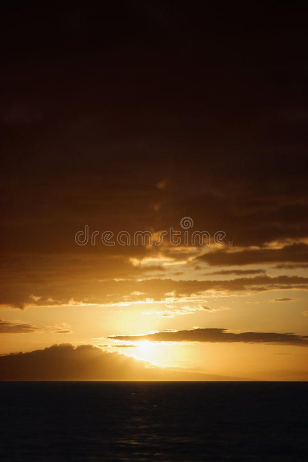 Sunset in Maui stock images