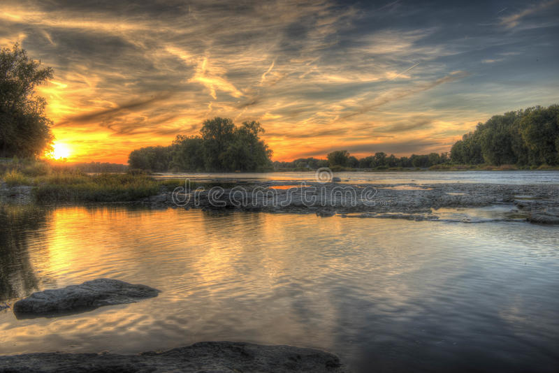 Sunset on the Maumee River stock image