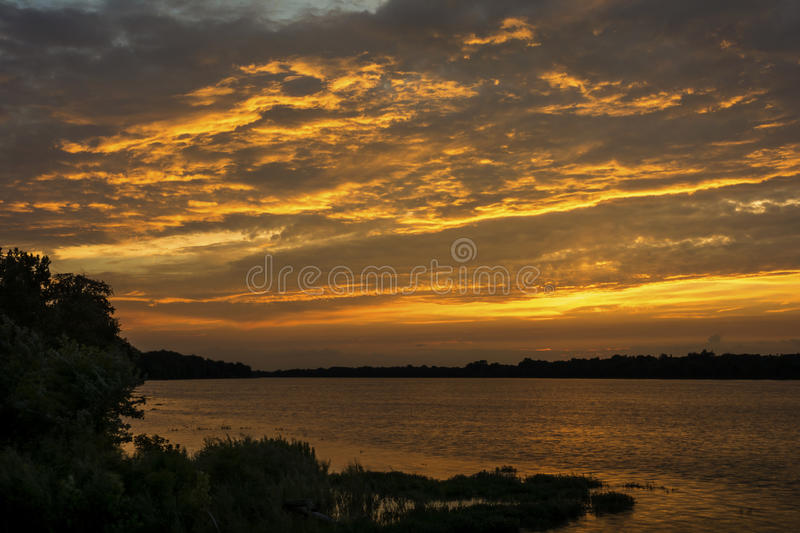 Sunset on the Maumee River royalty free stock photo