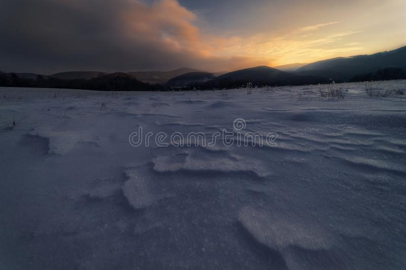 Winter sunset on meadows. Sunset on meadows , beatuful sky stock image