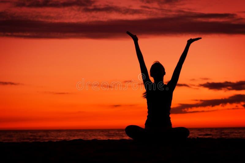 Sunset Meditation. Stock Photos