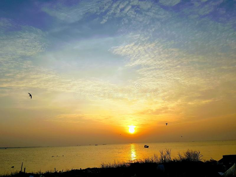 Sunset at Hau Giang stock photos