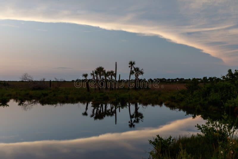 Sunset at Merritt Island National Wildlife Refuge, Florida stock photos