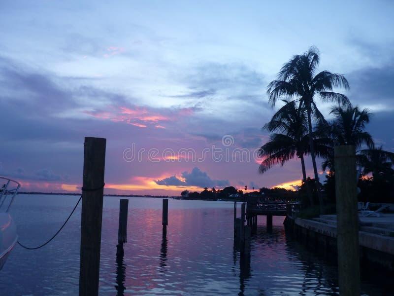 Sunset in miami beach, usa stock image