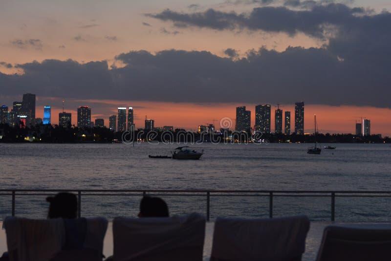 Sunset Miami royalty free stock photos