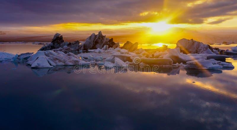 Sunset at Midnight ,Glacier Lagoon,Iceland royalty free stock photo