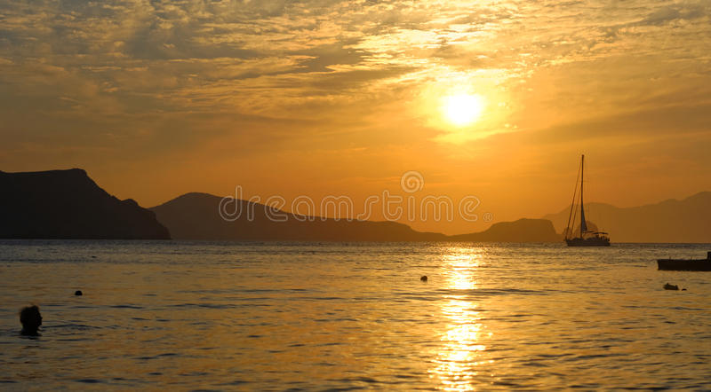 Download Sunset over Milos island stock image. Image of colourful - 34482839