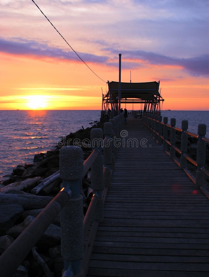 Sunset in Miri, Borneo royalty free stock photography