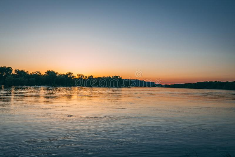 Sunset on the mississippi river in la crosse wisconsin royalty free stock photos