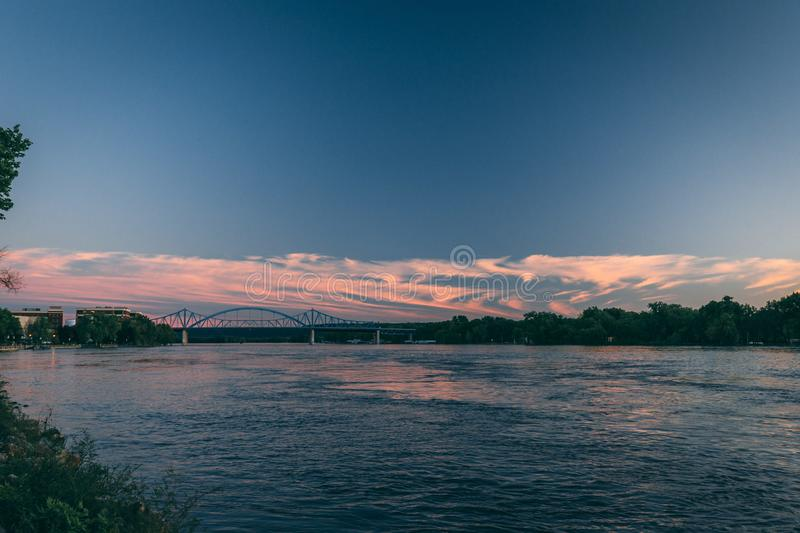 Sunset on the mississippi river in la crosse wisconsin. Viewed from riverbank stock photos