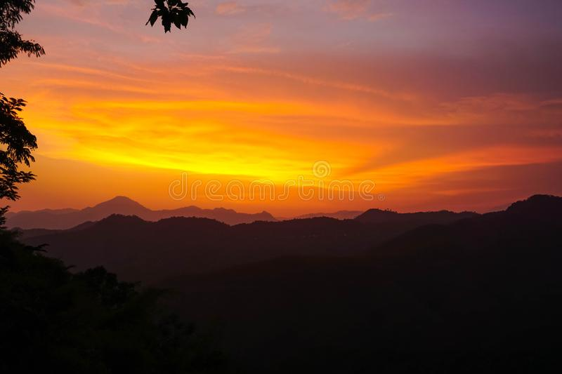 Sunset in Mizoram state. India royalty free stock images