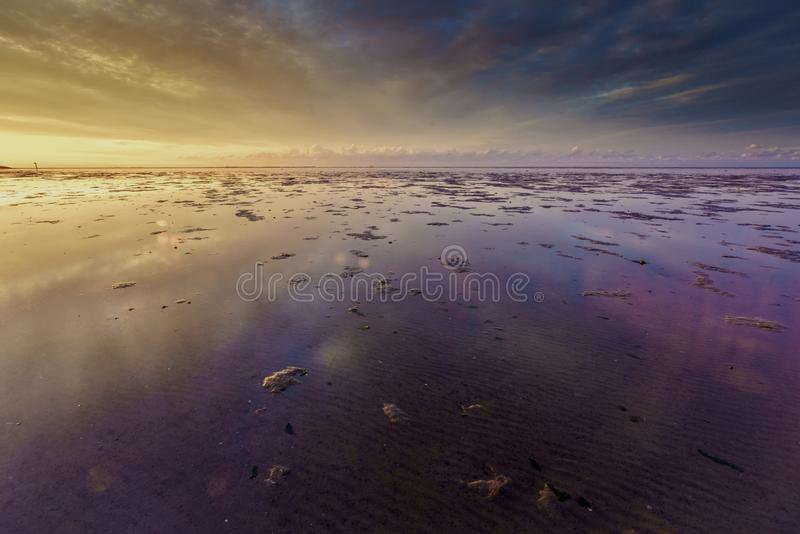 Sunset Moddergat photo stock