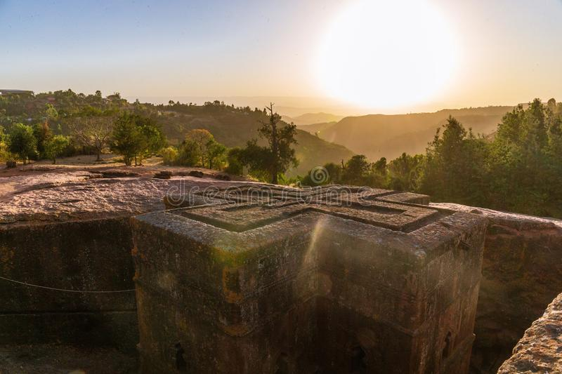 Sunset at monolithic church of Saint George Bet Giyorgis. The churches of Lalibela is on UNESCO World Heritage List royalty free stock images