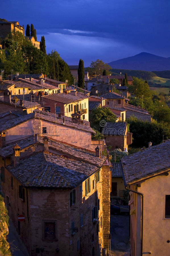 Sunset in Montepulciano, Tuscany, Italy. View from the city wall Montepulciano at sunset royalty free stock photos