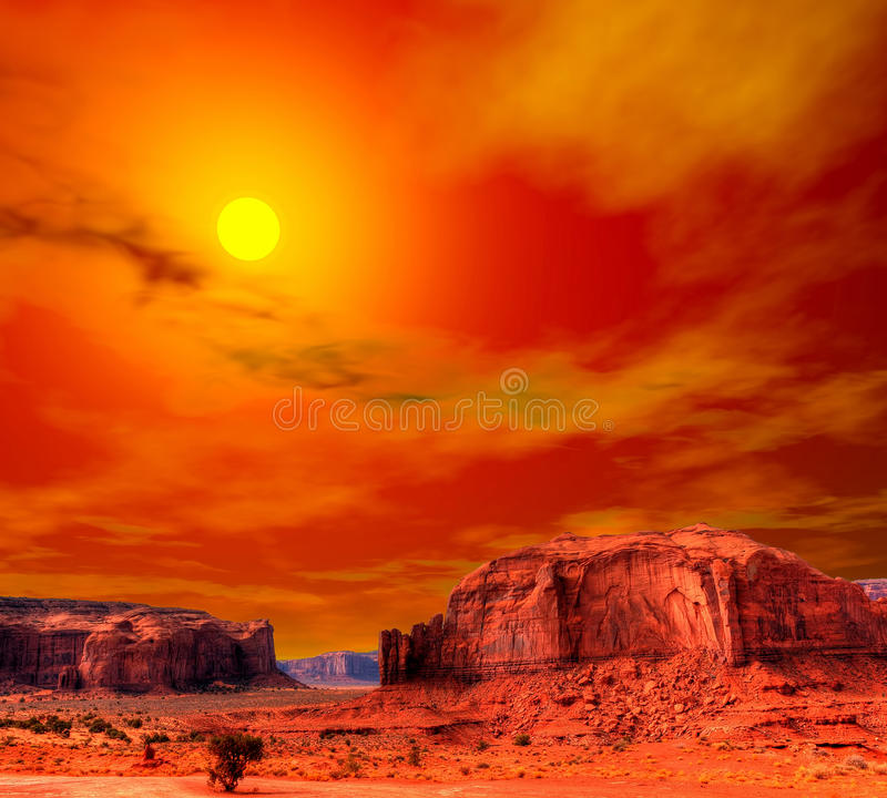 Free Sunset Monument Valley Stock Photo - 47788920