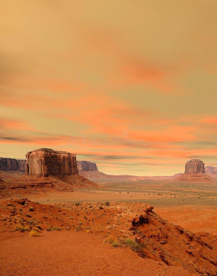 Sunset Monument Valley Arizona Navajo Nation royaltyfri fotografi