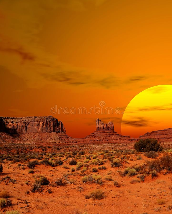 Sunset Monument Valley Arizona Navajo Nation lizenzfreies stockfoto