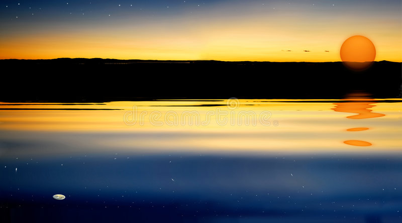 Sunset moon rise and star. Moon rise and Stars shine before sun goes down on water reflection stock photo