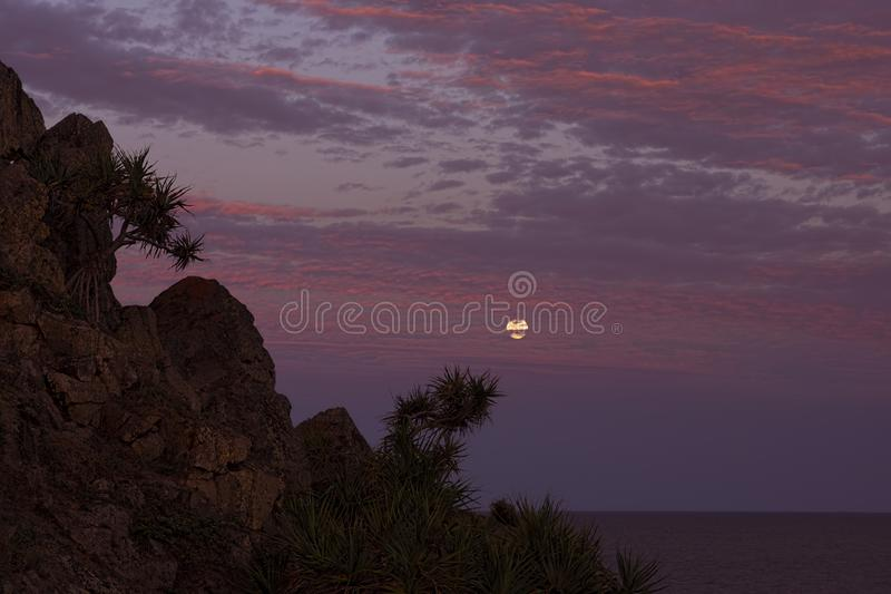 Sunset and moonrise with cliffs and pandanus palms. Full moon rising in sunset coloured clouds over the sea and with a cliff and pandanus palms in Queensland royalty free stock photography