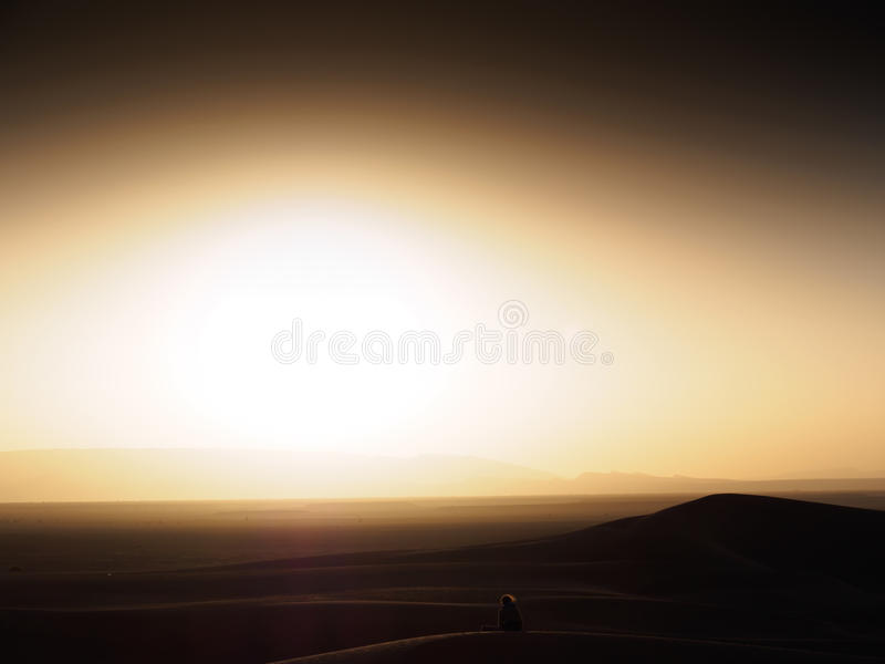 Sunset in the Moroccan desert royalty free stock photography