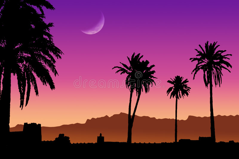 Sunset in Morocco stock illustration