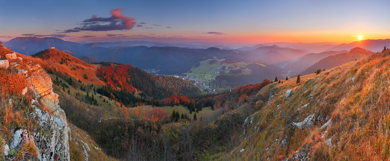 Sunset in mountain. Panoramic view stock images