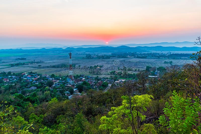 Sunset on the mountain in Chiang Rai,North of Thailan royalty free stock photo