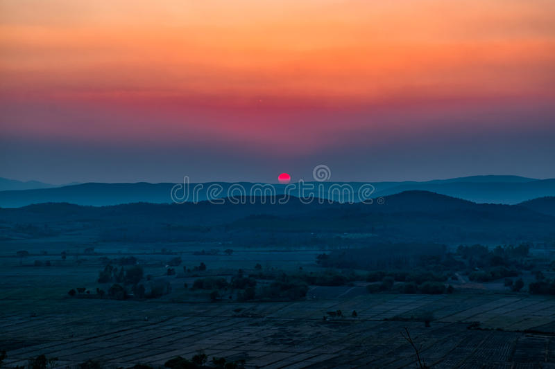 Sunset on the mountain in Chiang Rai,North of Thailan royalty free stock photography