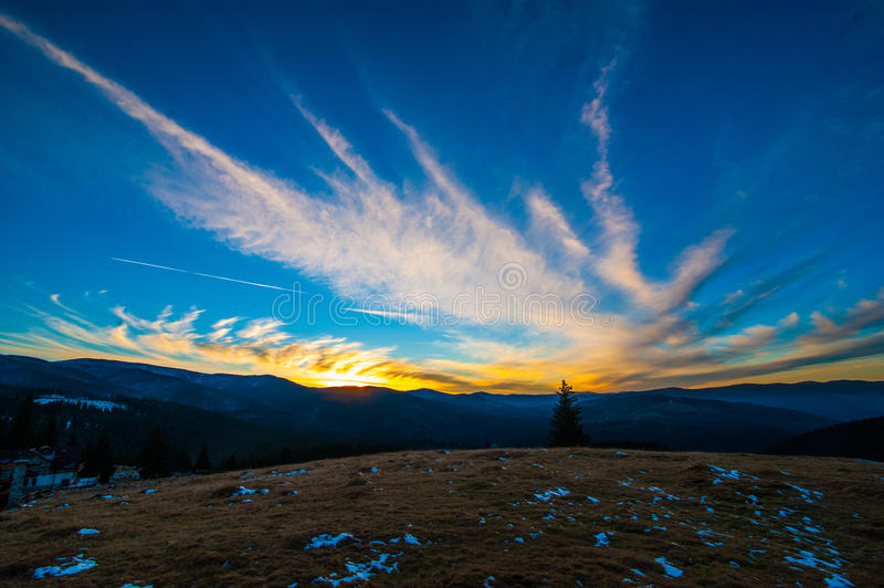 Sunset in the mountain in paltinis stock images