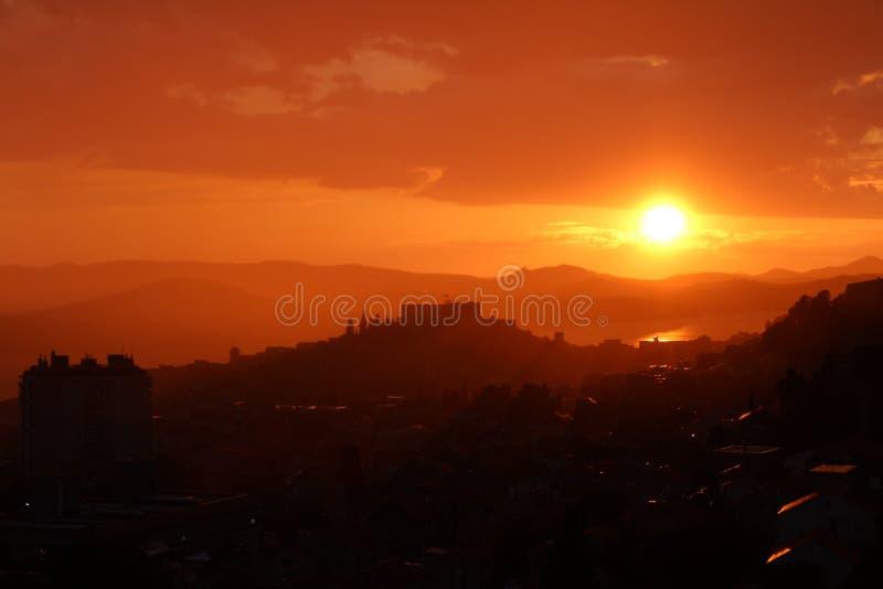 Sunset on Mountain Range royalty free stock photo