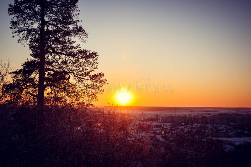 Download Sunset on the mountain stock photo. Image of backlit - 83717174