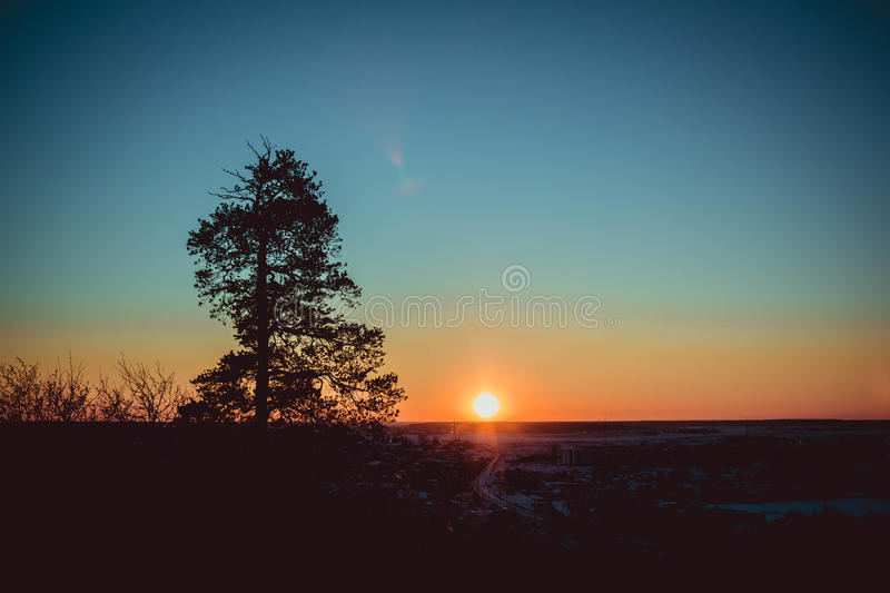 Download Sunset on the mountain stock photo. Image of glow, blue - 83717282