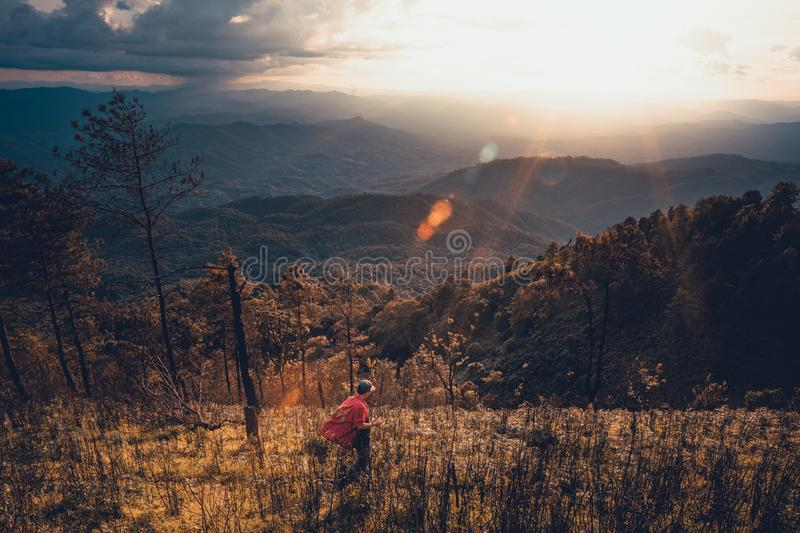 Sunset Mountain view in the evening travel. Sunset stock photos