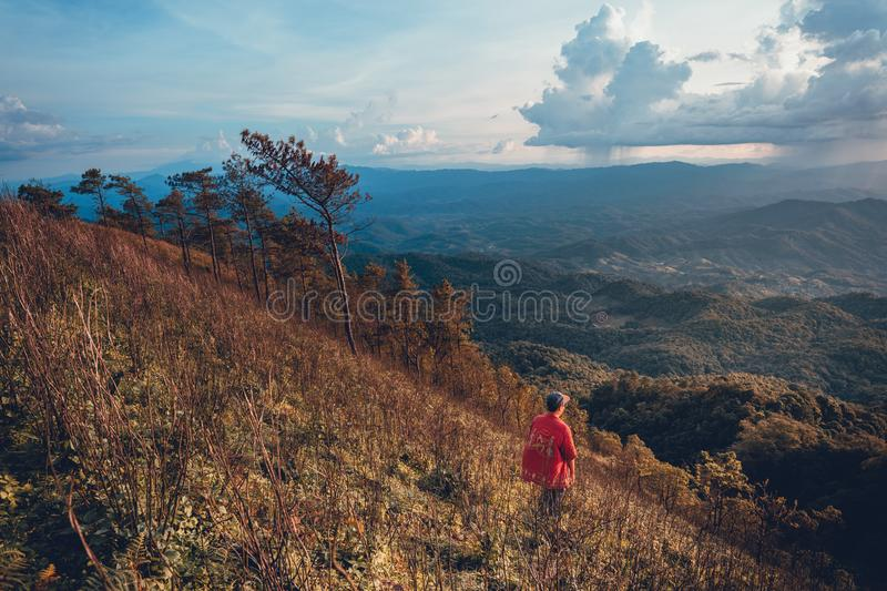 Sunset Mountain view in the evening travel. Sunset stock photography