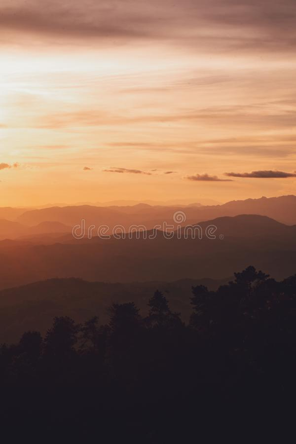 Sunset Mountain view in the evening travel. Sunset royalty free stock photography