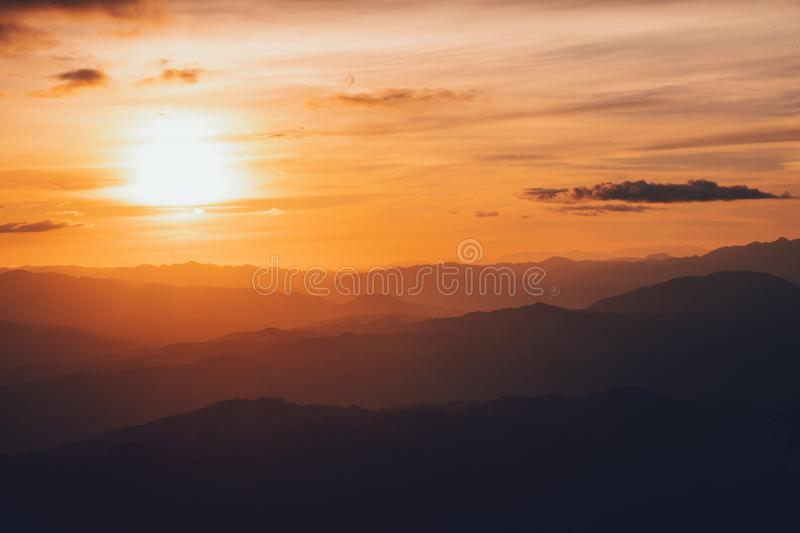 Sunset Mountain view in the evening travel. Sunset stock photo