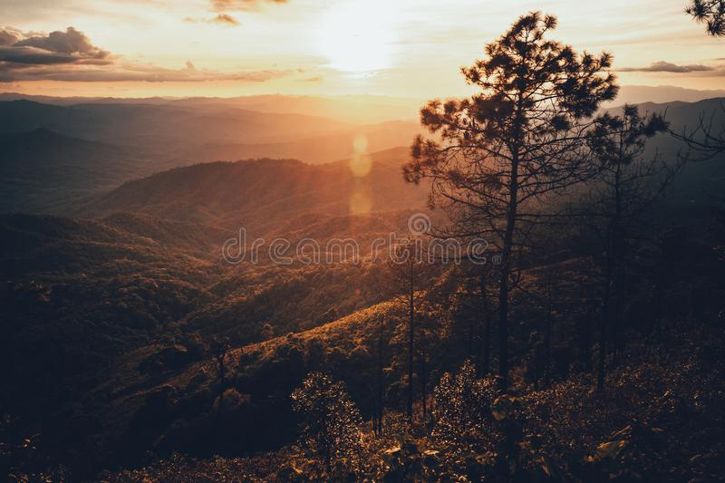 Sunset Mountain view in the evening travel. Sunset stock images