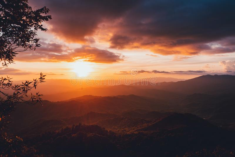 Sunset Mountain view in the evening travel. Sunset royalty free stock images