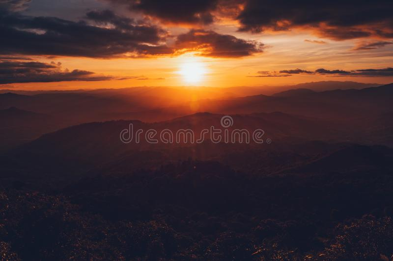 Sunset Mountain view in the evening travel. Sunset stock image